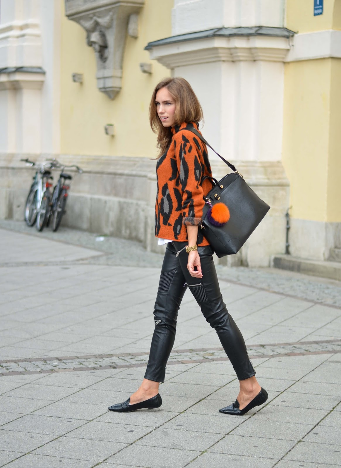kristjaana mere leopard sweater leather pants prefall 2015 outfit fashion
