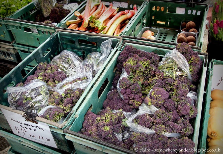 Purple broccoli - Marylebone farmers market, London