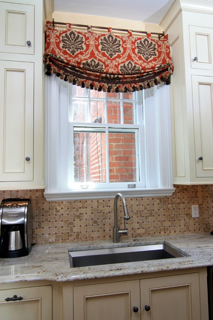 Interiors etc details window treatments with style for Roman shades for kitchen windows
