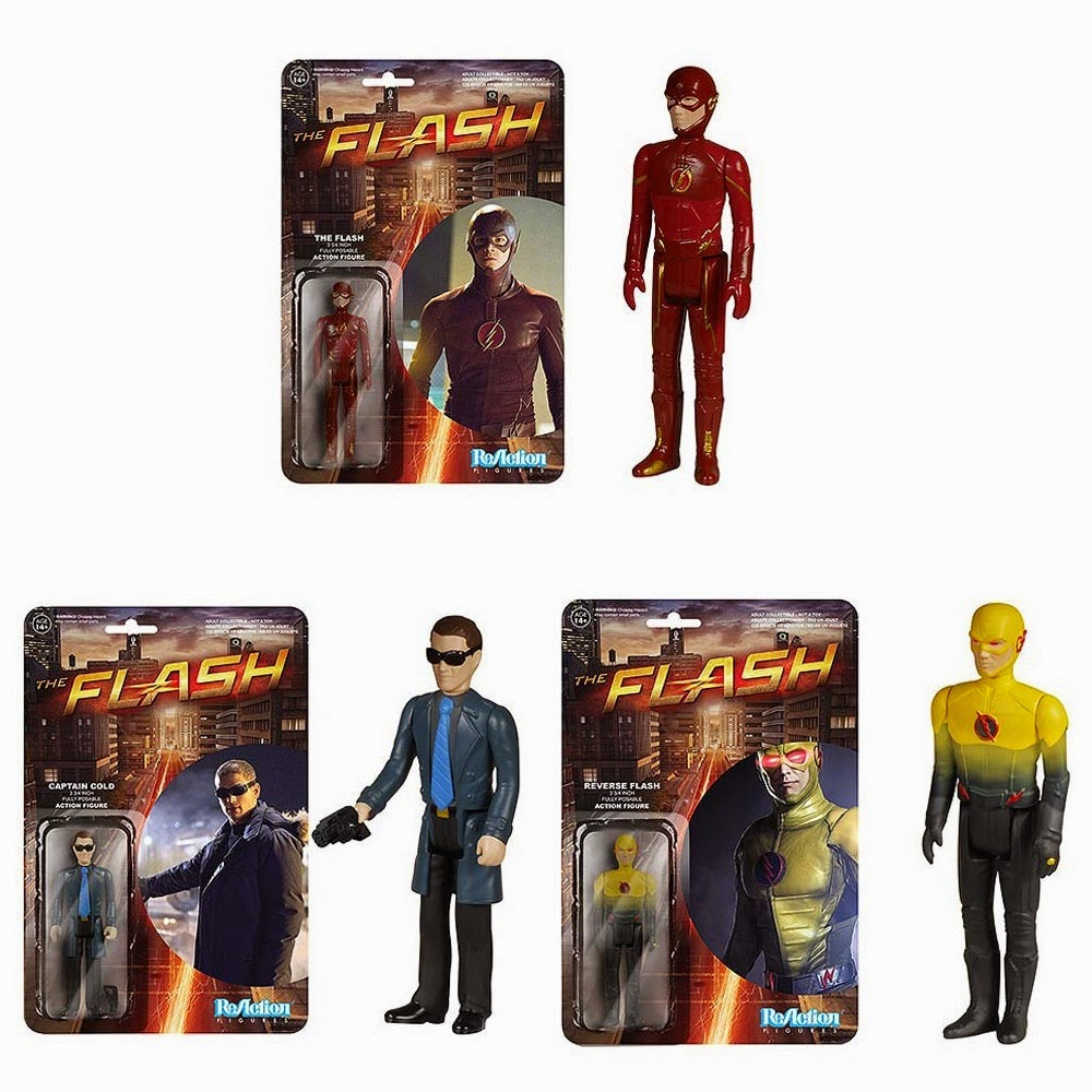 The Flash TV Series ReAction Retro Action Figures by Funko & Super7 - The Flash, Reverse Flash & Captain Cold