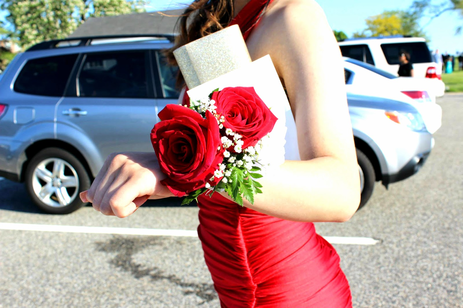 Prom red corsage