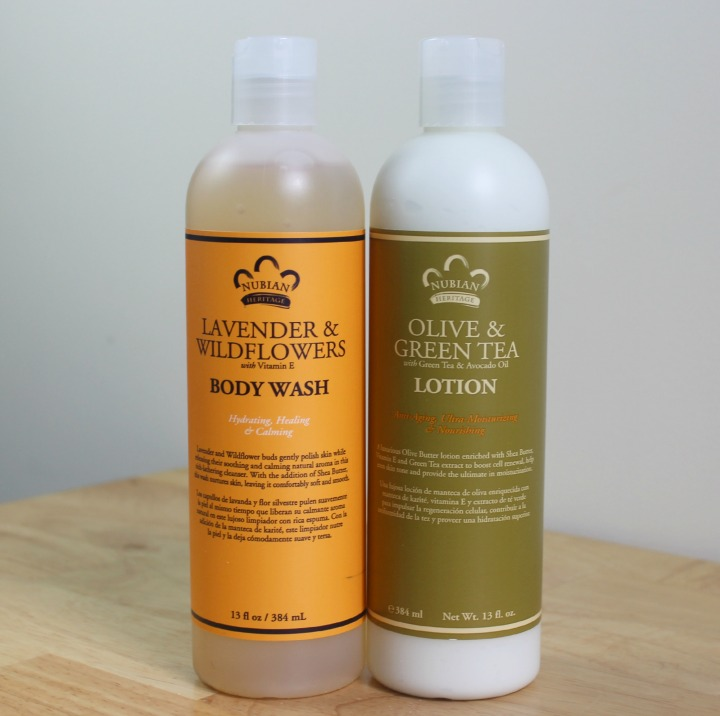 Nubian Heritage Body Care Lavender & Wildflowers with Vitamin E Body Wash Olive & Green Tea Body Lotion