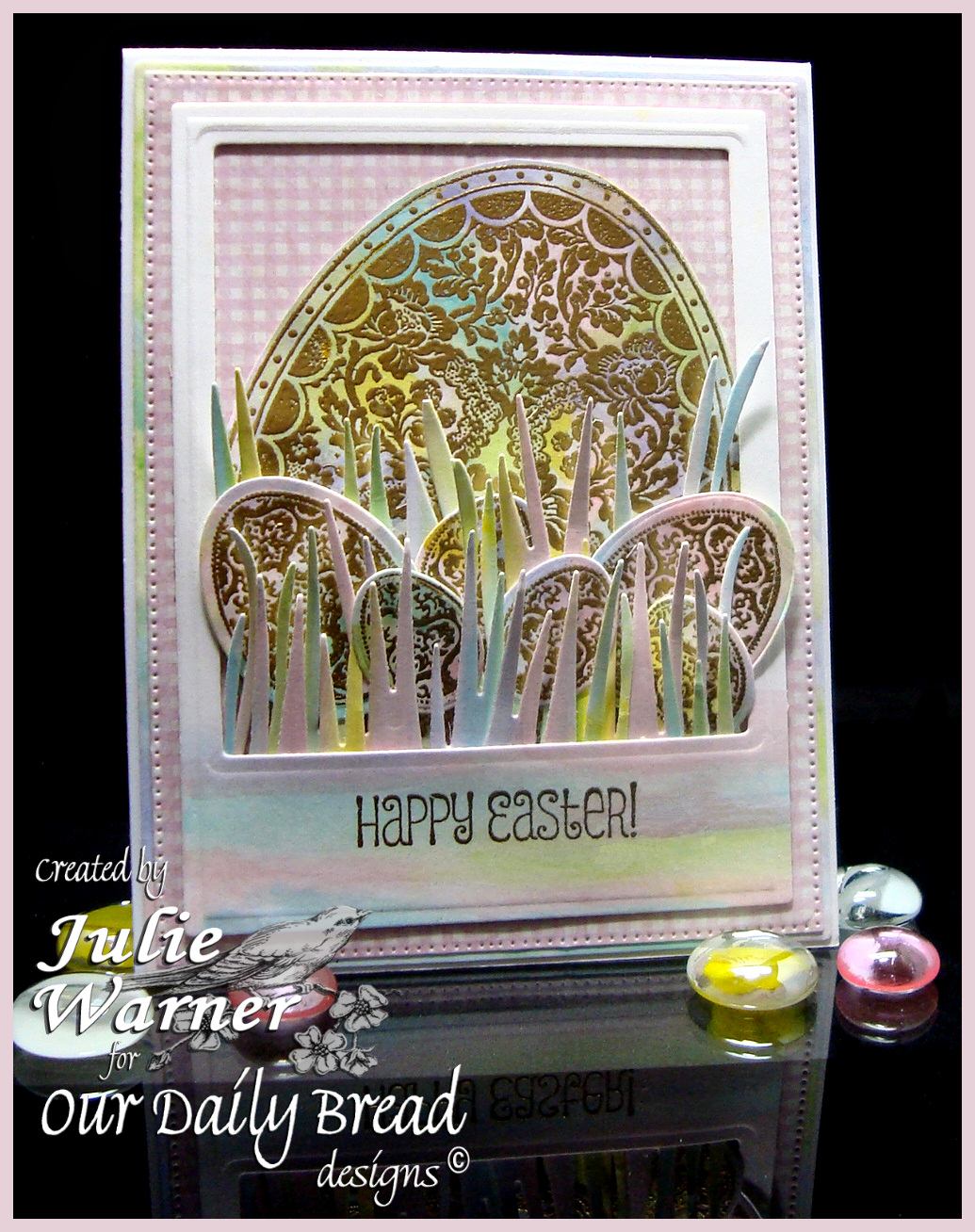 Stamps - Our Daily Bread Designs Basket of Blessings, Floral Egg, Blessed Easter, ODBD Custom Eggs Dies, ODBD Custom Grass Border Die, ODBD Custom Flourished Star Pattern Die, ODBD Shabby Rose Paper Collection