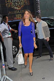 Sofia Vergara wearing a blue dress and silver pumps