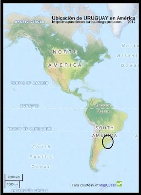 Ubicacion de URUGUAY en America, OpenStreetMap