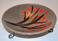Gray, red & black fused glass bowl