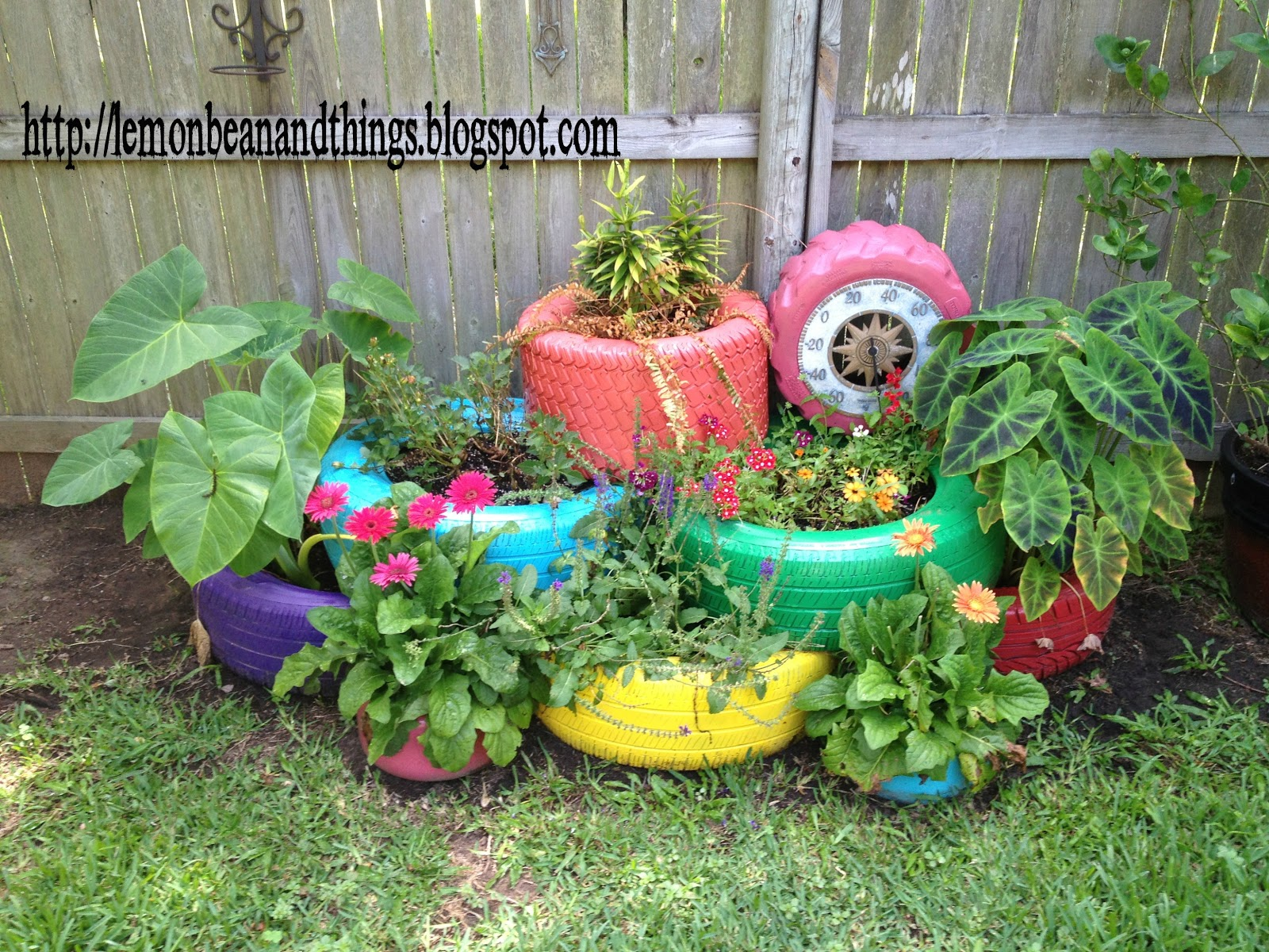 Lemon bean and things recycle tire planter under for How to make a tire garden