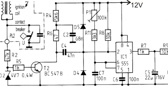 simple tachometer circuit or revolution counter circuit