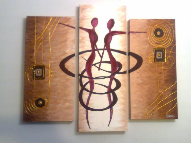 Cuadros abstractos modernos decorativos tripticos dipticos for Cuadros tripticos online