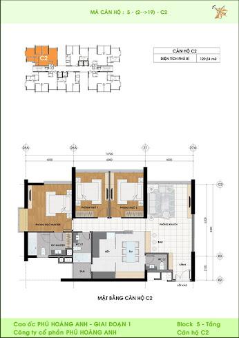 mặt bằng căn hộ C2 Phú Hoàng Anh