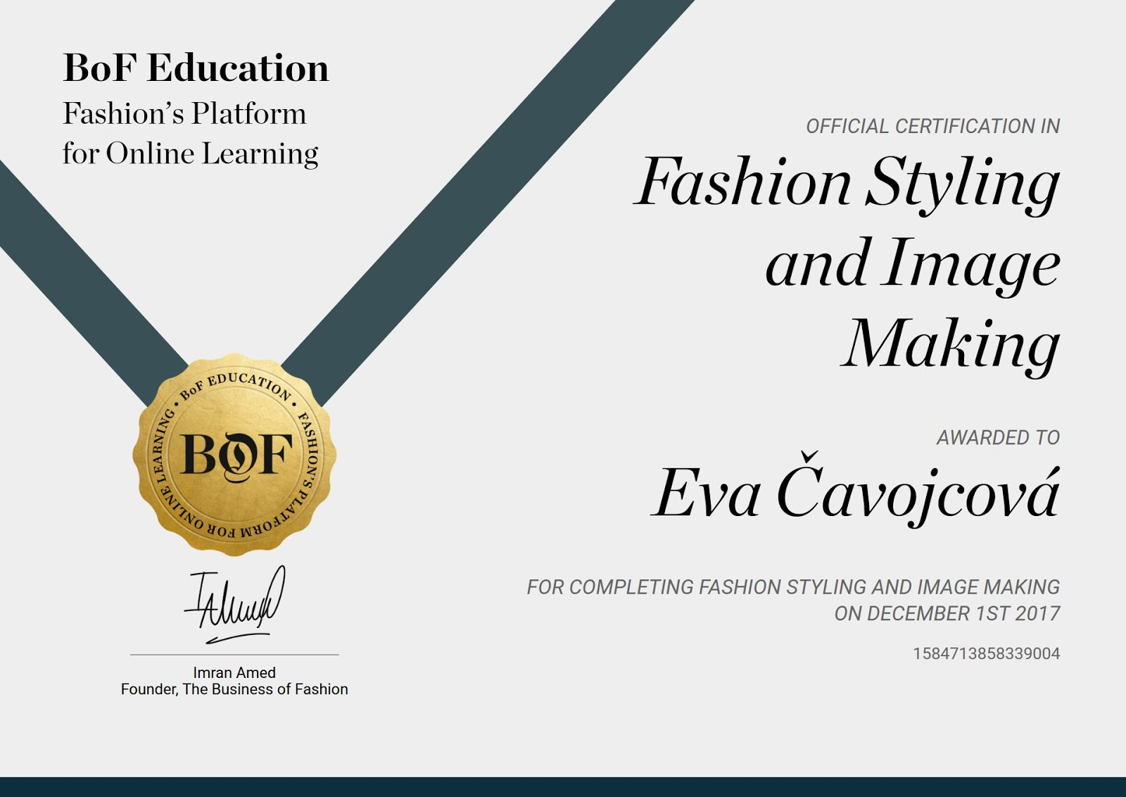 BOF Fashion Styling & Image Making certificate by Lucinda Chambers