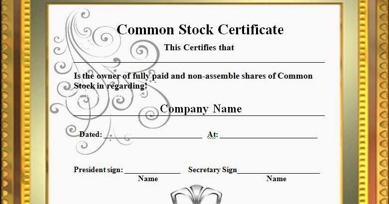 Free Stock Photos: Common Stock Certificate Template Graphics And