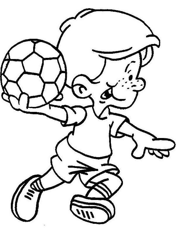 Niño jugando futbol para colorear