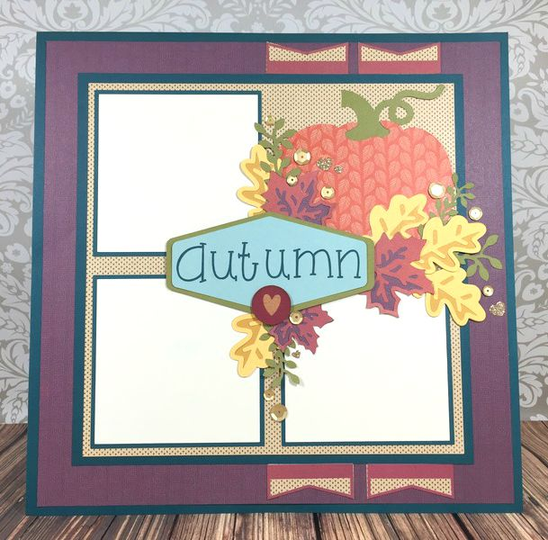 Cricut Artistry Autumn Scrapbook layout