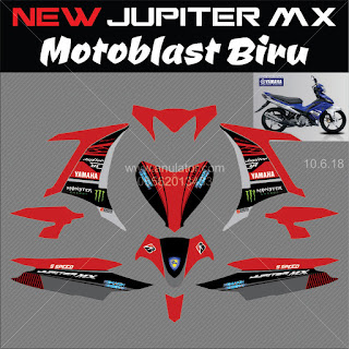 Sticker striping motor stiker Yamaha New MX 135 Motoblast Merah Hitam