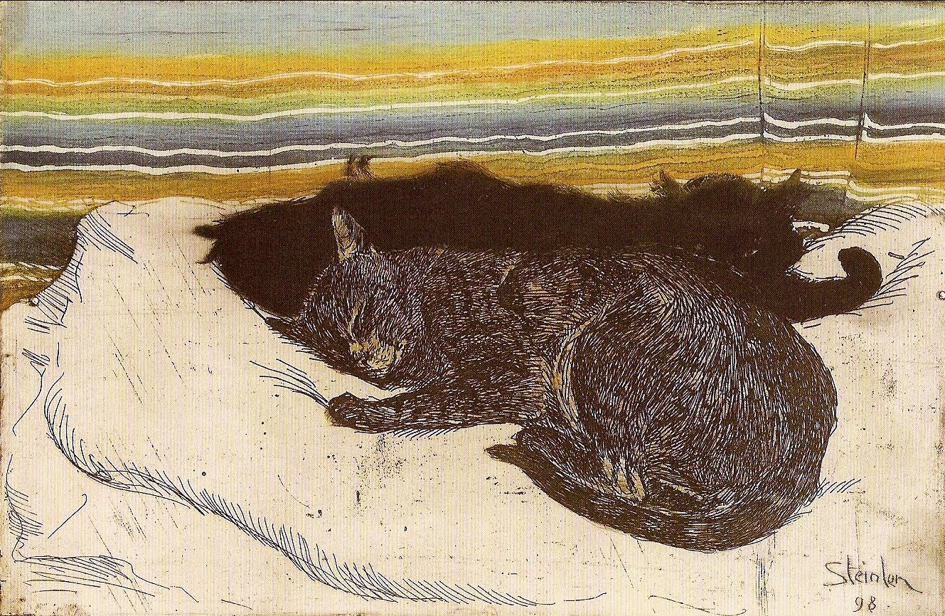Steinlen Cats Drawings in 1898 Steinlen Published The