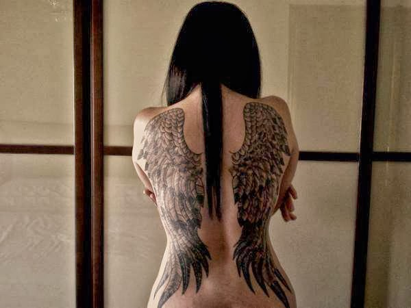 Angel wings are the main attribute of angel, which is the messenger of God in human form. Angel tattoo is another religious tattoo for expressing love of God.