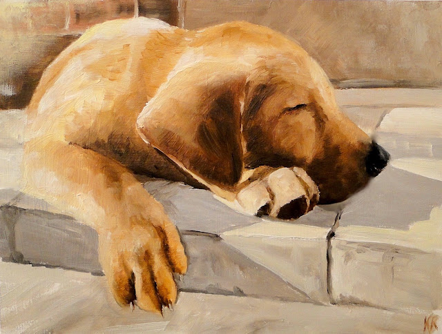 oil painting of a Dog snoozing in the sun