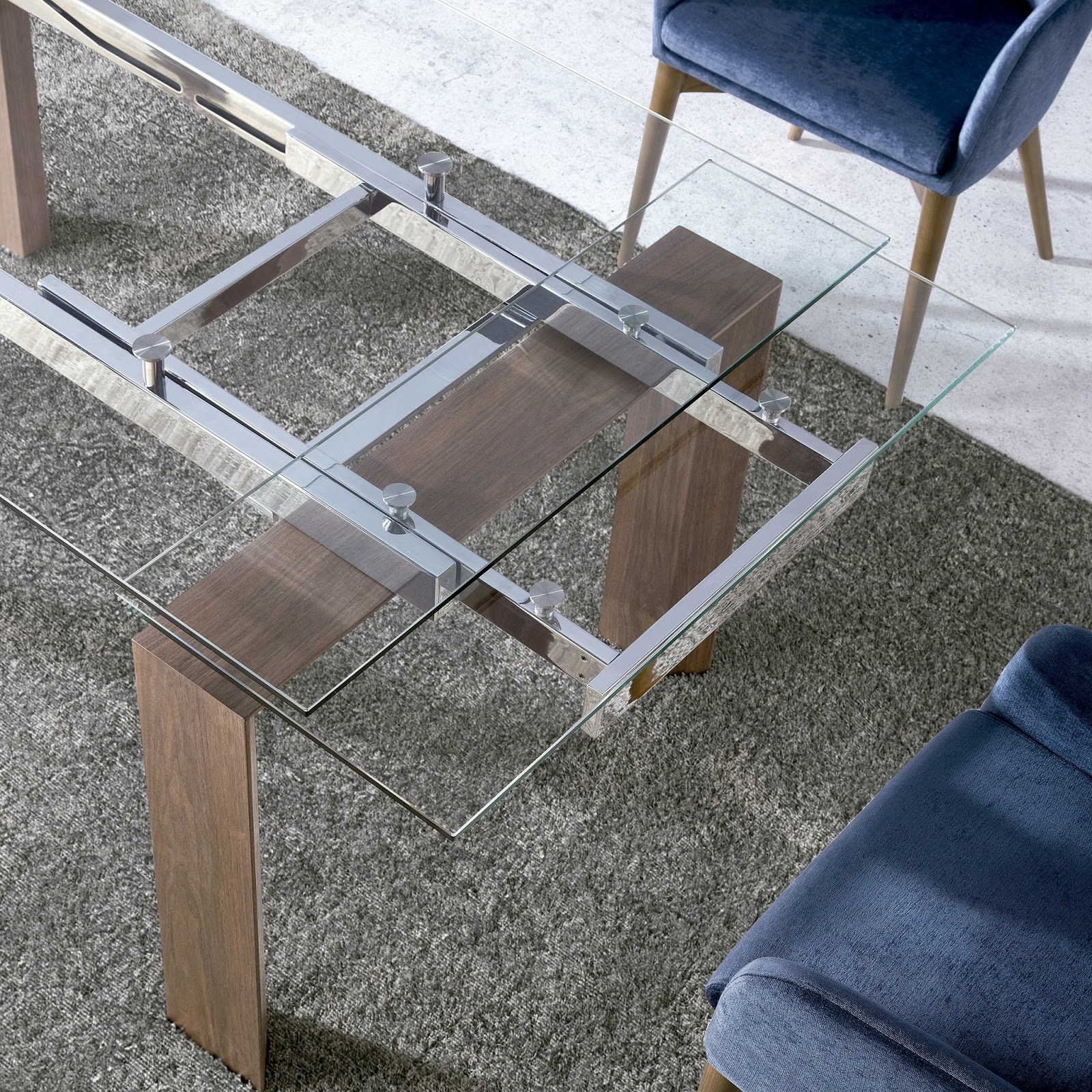 Mesas de comedor mesas de comedor extensibles de cristal for Mesa comedor cristal y madera