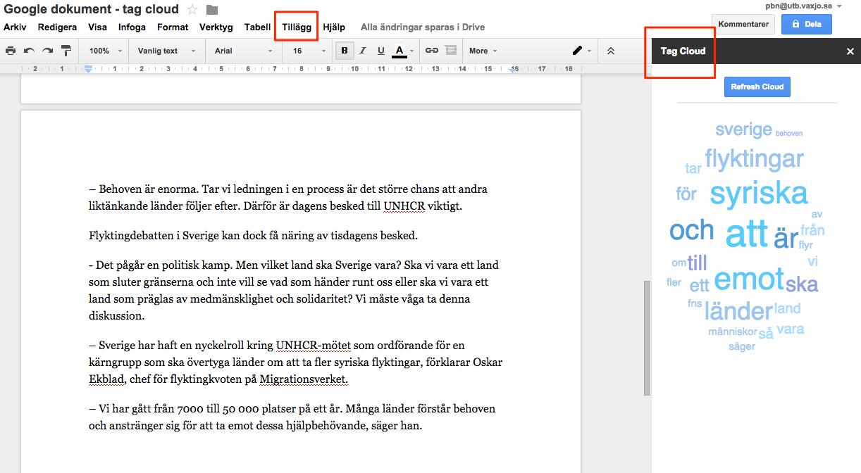 Ordmoln I Google Dokument - Google dokument