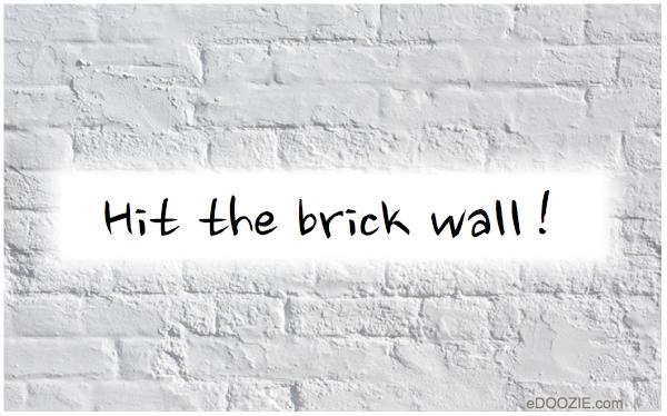 hit the brick wall, white painted brick