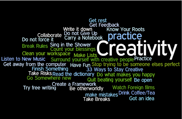 33 ways to stay creative, word cloud