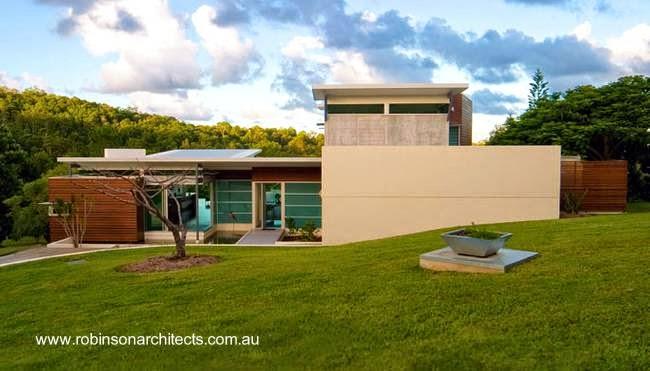 Vista del frente de residencia contemporánea australiana