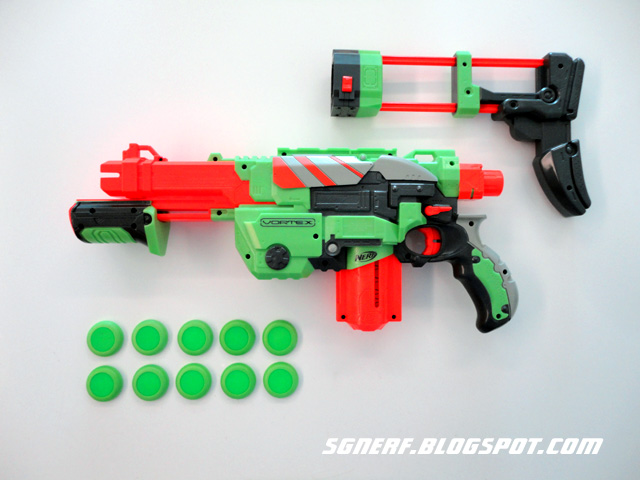 Excellent Condition Nerf Vortex Praxis Gun With Disc Magazine And  Discs