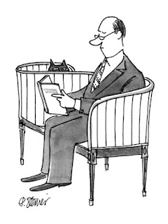 Cartoon of man reading a book while a cat looks on