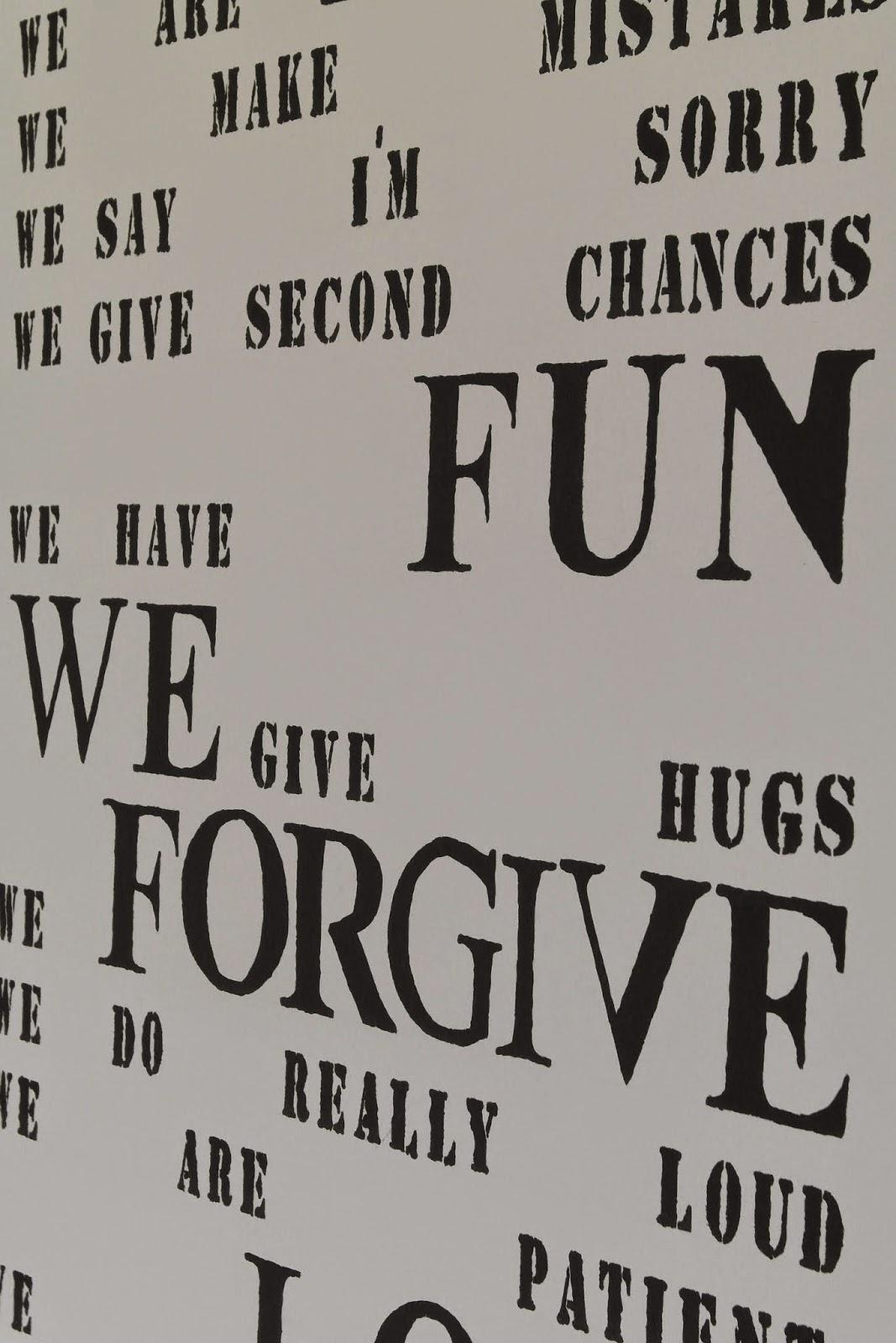 Spruch auf Wand mit Schablone