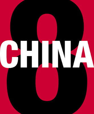 China in white text, on red background, with a black eight in the background.