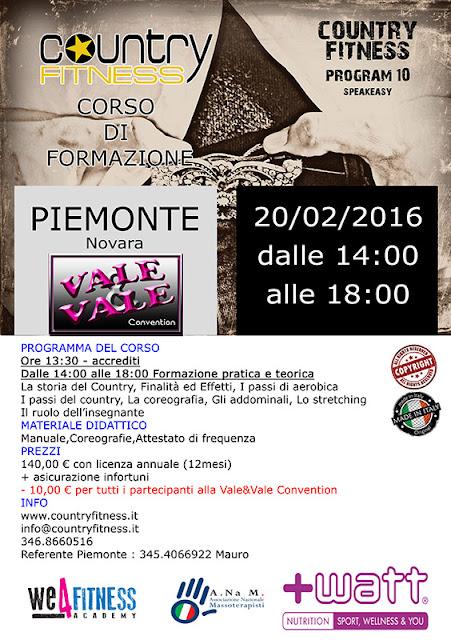 Corso di formazione Country Fitness Novara, 20 febbraio 2016 a Novara