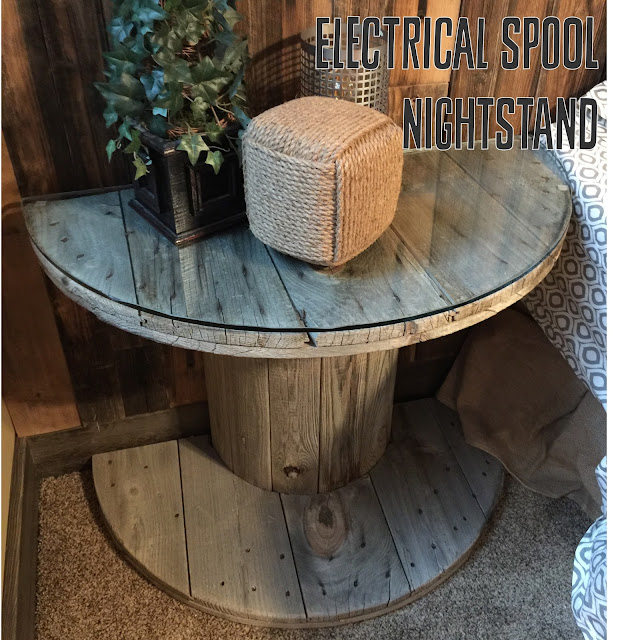 Electrical Spool Nightstand with Glass Top cut in half as a nightstand for bedroom