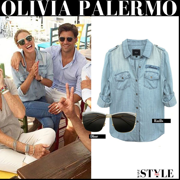 Olivia Palermo in light blue monogrammed Rails Tyson denim shirt and square Dior So Electric sunglasses vacation streetstyle