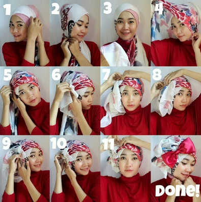 Tips Cara Mudah Pakai Hijab Turban Pesta model Baru