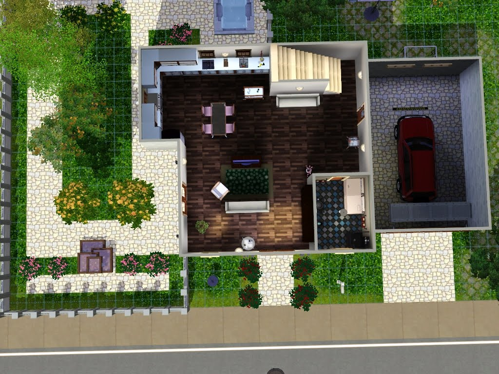 Kiki koy 4 the sims casa 3 piani con garage e jacuzzi for Sims 4 piani di casa