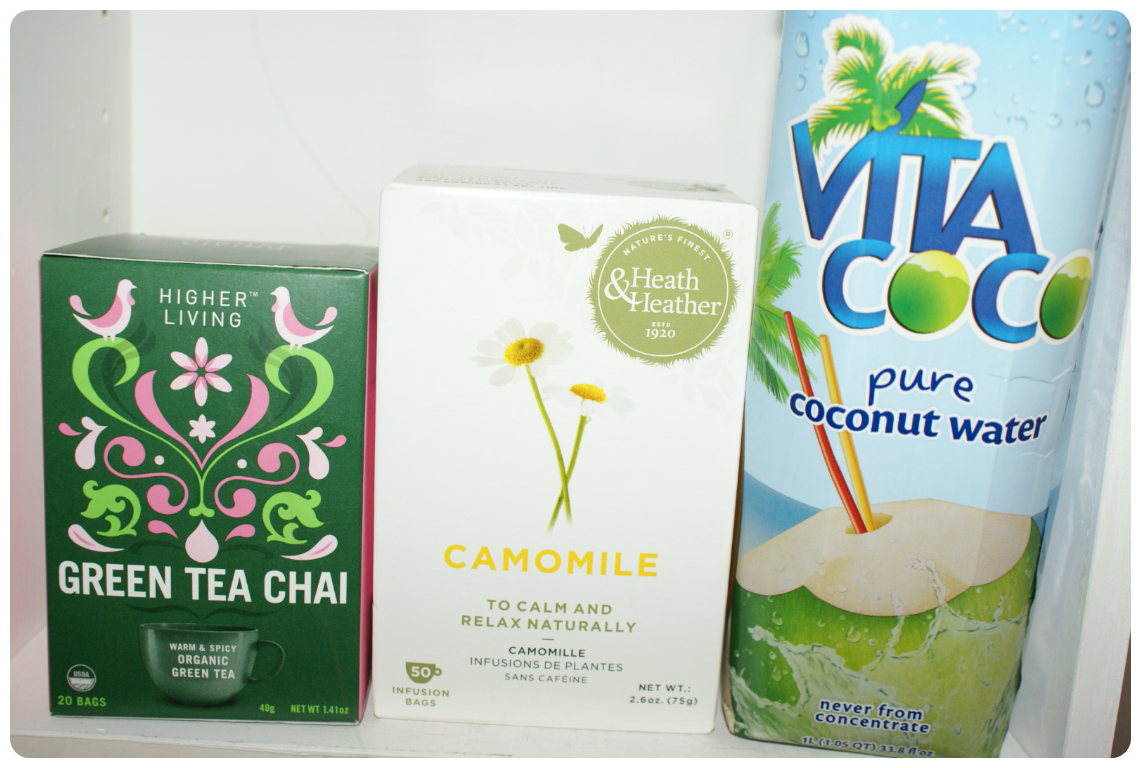 green tea chai, camomile tea, coconut water