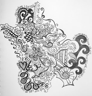 A black and white doodle combining words from Scripture and abstract shapes