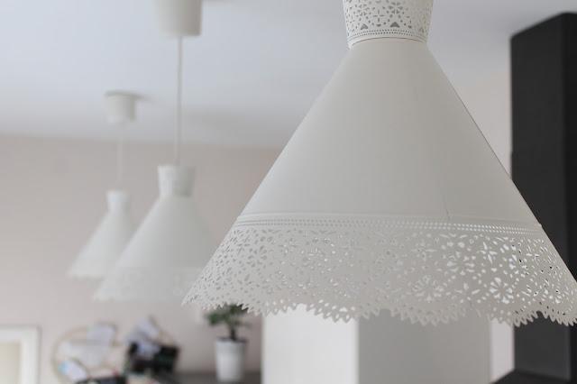 ikea molndal lights in kitchen row of three