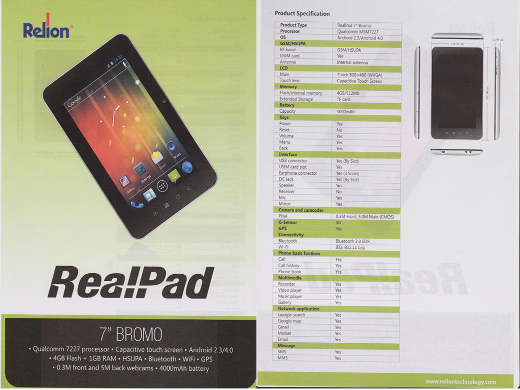 TABLET PC REALPAD BROMO By. Relion Technology