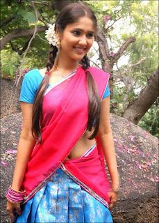 Beautiful South Actress Chaitra in Pink Saree