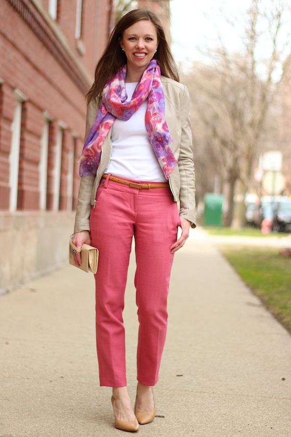 Pink Ankle Crop Pant, Floral Scarf, Ivory, Tan & White | StyleSidebar