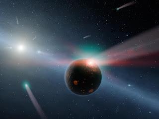 raining comets in eta corvy system