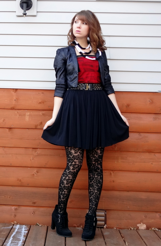 edgy office style outfit lace tights velvet diy yarn necklace