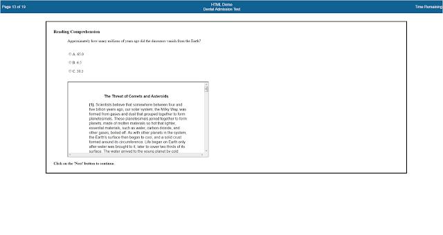 Dental Admissions Test Reading Comprehension Screen Shot