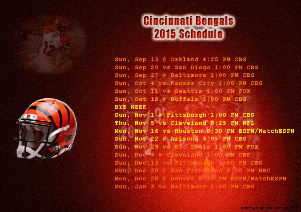 Cincinnati Bengals 2015 Schedule Wallpaper   WallpaperSafari