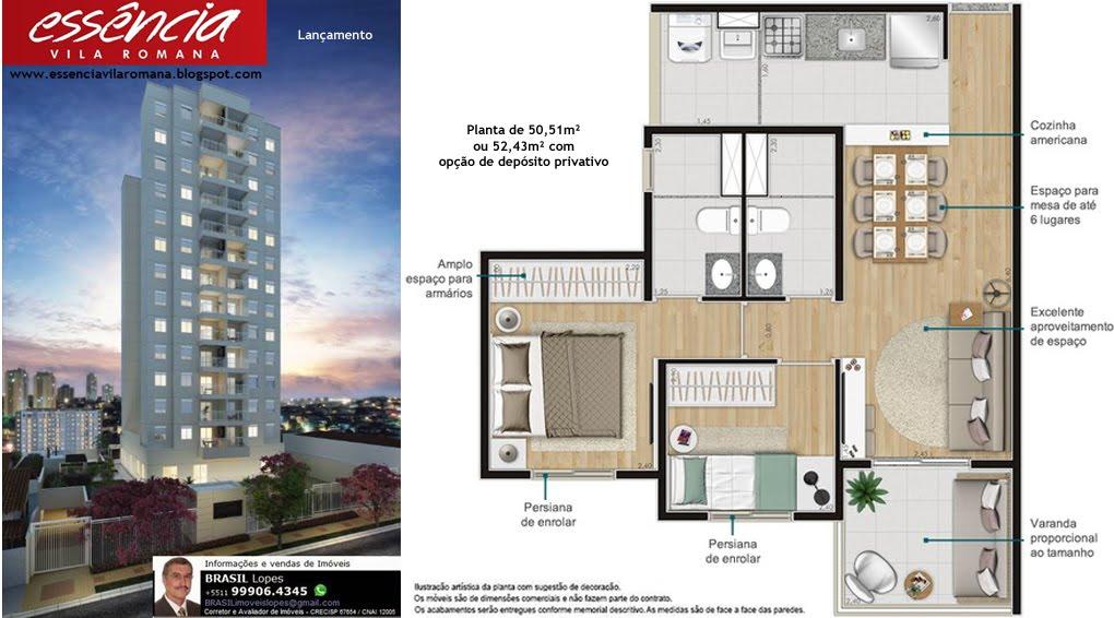 ESSÊNCIA Vila Romana - Apartamentos com 2 dormitórios (1 suíte), 50m² - Vila Romana-São Paulo-SP