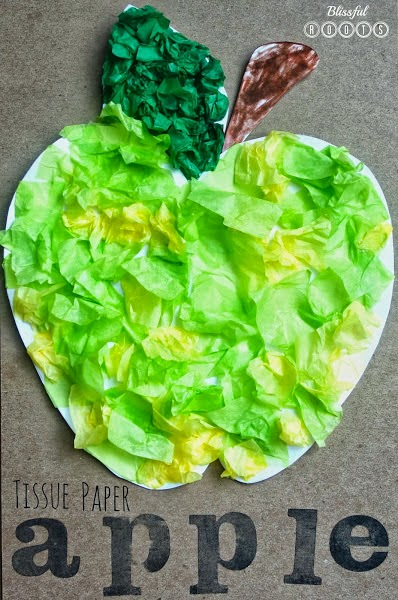 Tissue Paper Apple Art Project