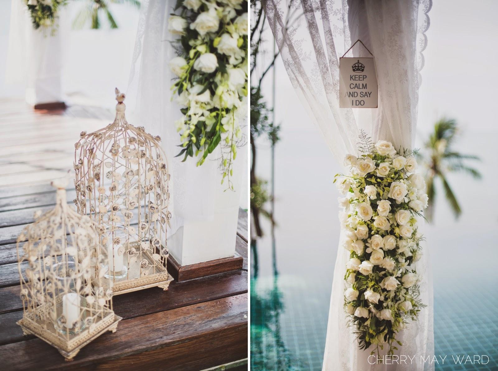 Koh Samui Villa Riva wedding details, Koh Samui white wedding, Keep Calm and Say I Do,  lanterns, white roses,