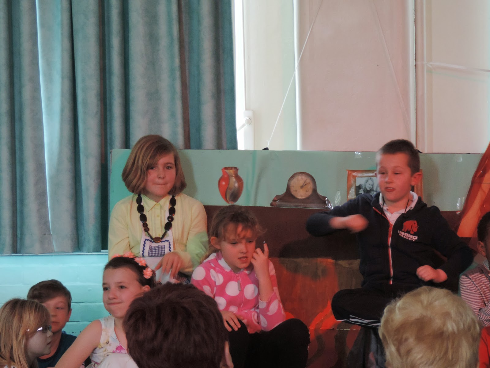 mrs overalls impression and gurning kids in school play production